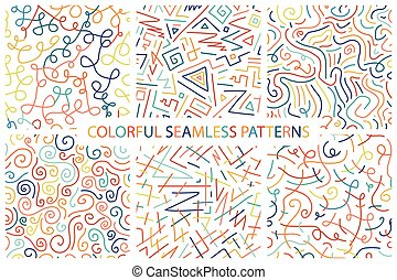 Collection of colorful hand drawn seamless patterns.
