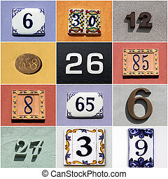 collection of colorful house numbers