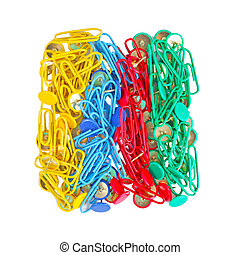 Collection of colorful paper clips