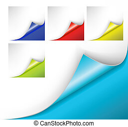 colorful papers with a curl - Collection of colorful papers...