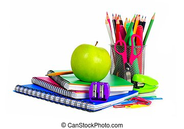 Collection of colorful school supplies over a white...