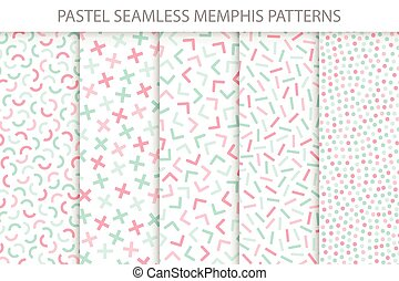 Collection of colorful seamless memphis patterns. Soft colors - delicate design.