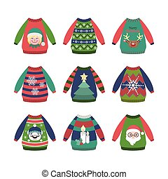 Collection of colorful ugly Christmas sweaters with patterns