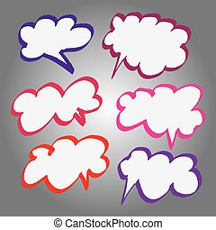 Collection of Comic Style Bubbles in Vector Format. Color can be changed by one click