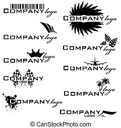 Collection of company logos in black and white that are easy to edit