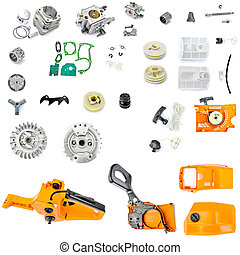 Collection of components chainsaw  on a white background