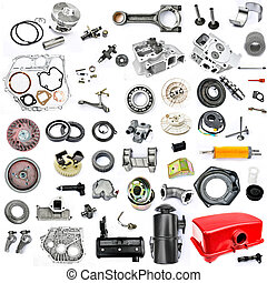 Collection of components power tiller on a white background...