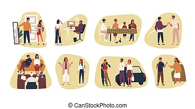 Collection of conflict situations or scenes between parents and their teenage kids. Bundle of adult people and teenagers arguing or quarrelling. Colorful vector illustration in flat cartoon style.