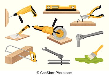 Collection of construction tools. Vector illustration on white background.