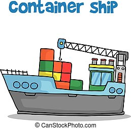 Collection of container ship transport vector illustration