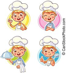 Collection of Cook Chef portraits in different situations