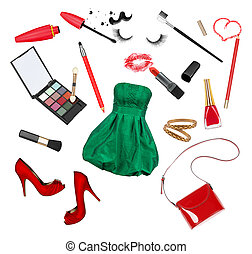 collection of cosmetics and accessories to the celebration on an isolated white background