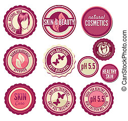 Collection of cosmetics labels and badges