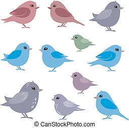 collection of couples birds for your design