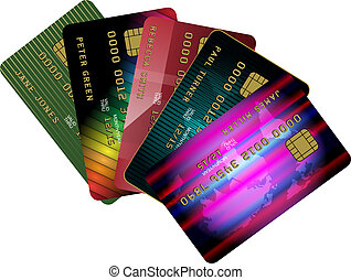 Credit Cards - Collection of Credit Cards Isolated on White