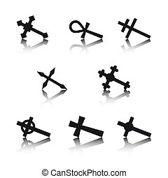 Collection of crosses isolated on white background