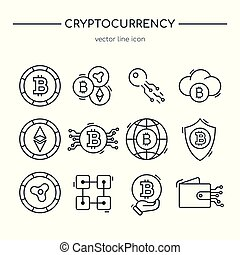 Collection of cryptocurrency line icons.