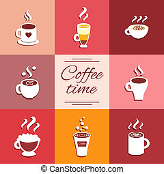 Collection of cup icons with hot coffee drinks