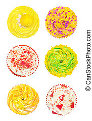 Collection of cupcakes isolated on a white background. angle the top