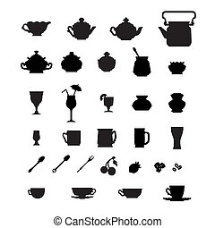 Collection of cups, teapots and other items.