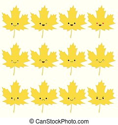 Collection of cute autumn leaves in kawaii style.