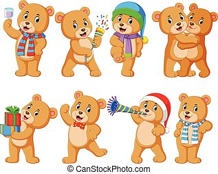Collection of cute bear with various posing