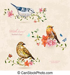 collection of cute birds. watercolor painting