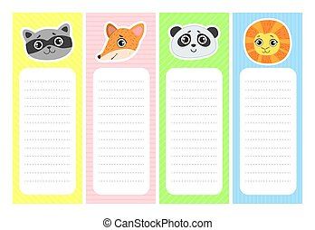 Collection of Cute Bookmarks with Animal Heads, Paper Stickers, Notepad Templates Vector Illustration
