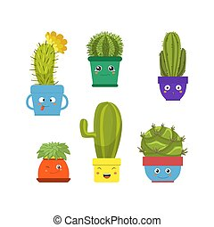 Collection of Cute Cactus and Succulent Plants in Pots with Happy Funny Faces Vector Illustration