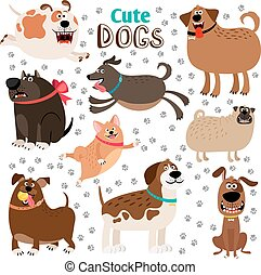 Collection of cute cartoon dogs