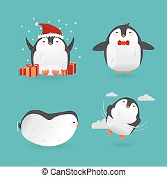 Collection of cute cartoon penguins characters.