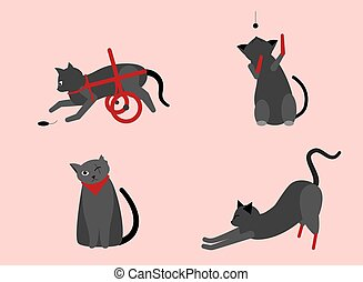 Collection of cute cats with disabilities. A bunch of happy pets or pets with artificial legs or artificial legs. Colorful vector illustration in flat cartoon style. On a pink background