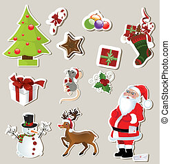 collection of cute Christmas stickers for your design