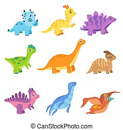 Collection of cute colorful dinosaurs, funny baby dino cartoon characters vector Illustration