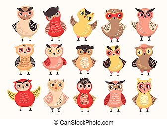 Collection of cute colorful owls decorated with different ornaments. Set of funny cartoon forest birds standing in various position isolated on white background. Colored vector illustration.