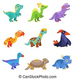 Collection of cute dinosaurs, colorful baby dino cartoon characters vector Illustration