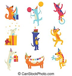 Collection of cute dogs in party hats, funny cartoon animal characters having fun at birthday party vector Illustration