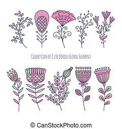 Collection of cute doodle floral elements