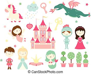 Collection of cute fairy-tale characters