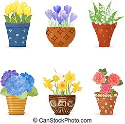collection of cute flowers planted in art floral pots for your design
