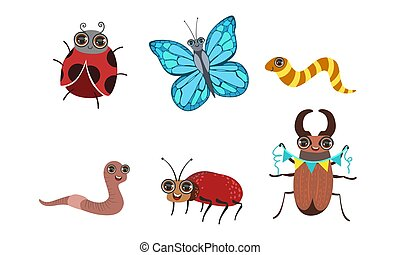 Collection of Cute Funny Cartoon Insects Set, Caterpillar, Butterfly, Ladybug, Earthworm, Deer Beetle Vector Illustration