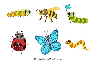 Collection of Cute Funny Cartoon Insects Set, Ladybug, Butterfly, Deer Beetle, Wasp Vector Illustration