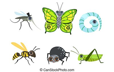 Collection of Cute Funny Cartoon Insects Set, Mosquito, Butterfly, Caterpillar, Wasp, Grasshopper, Spider, Worm Vector Illustration