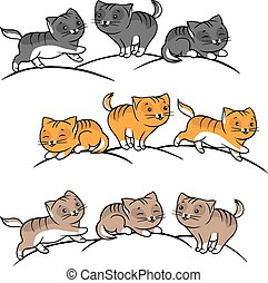 Collection of cute funny cats vector set