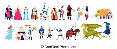 Collection of fairytale characters, king,queen, prince and princess