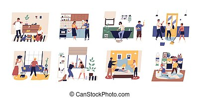 Collection of cute funny people doing housework. Set of men, women and children washing dishes, cleaning windows, vacuuming carpet, folding clothes, making bed. Flat cartoon vector illustration.