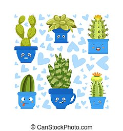 Collection of Cute Green Cactus and Succulent Plants in Pots with Happy Funny Faces Vector Illustration
