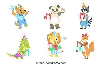 Collection of Cute Happy Animals for Happy Birthday Design, Dog, Panda, Raccoon, Crocodile, Lion, Fox, Vector Illustration