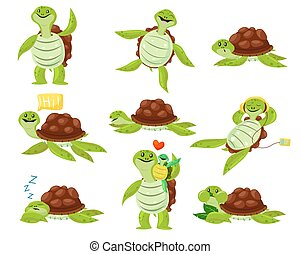 Collection of cute happy turtle set