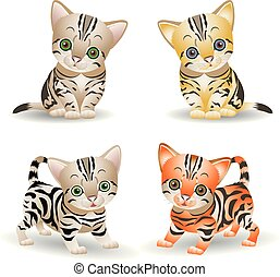 Collection of cute kittens (red and gray), cartoon on white background,